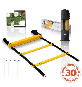 SportPerfomance | Agility Ladder | Yellow-Black |12 rungs - 15 feet| for the Best Agility Ladder Drills + Ebook Carry Bag and Metal Ground Pegs(4x)