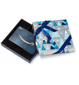 Amazoncom Gift Card in a Blue and Silver Gift Box