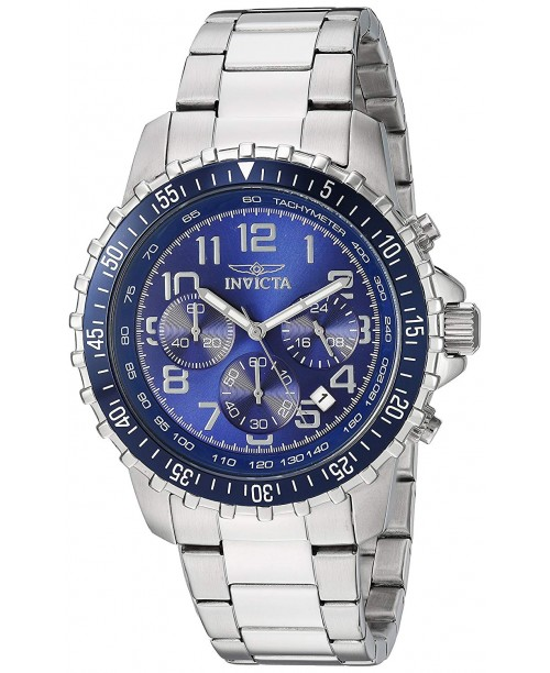 Invicta Mens 6621 II Collection Chronograph Stainless Steel Silver/Blue Dial Watch