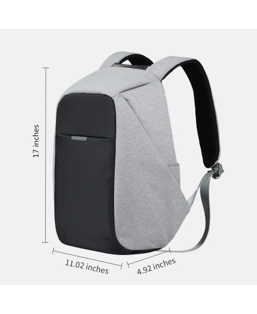 Oscaurt Anti-theft Travel Backpack Business Laptop School Book Bag with USB Charging Port Water Resistant Students Work Men & Women Daypack Grey
