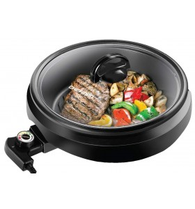 CHEFMAN 3-IN-1 Versatile Indoor Grill Pot & Skillet - Slow Cook Steam Simmer Stir Fry and Serve Non Stick Electric Griddle Pan w/Temperature Control & Tempered Glass Lid