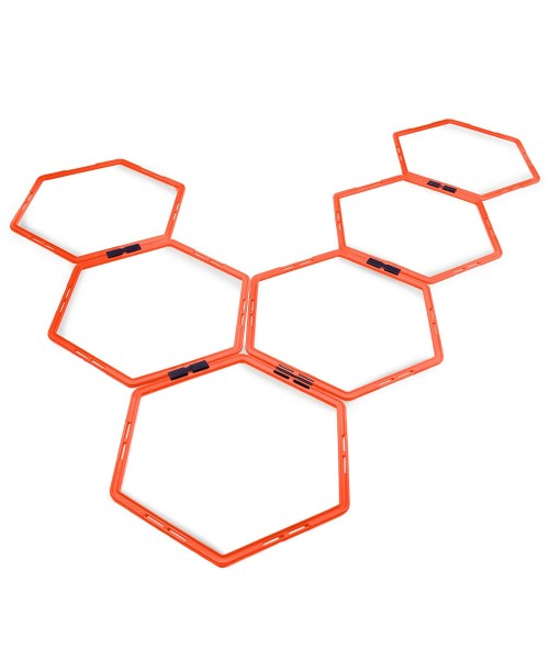 Crown Sporting Goods Hexagonal Ladder Set Fluorescent Orange &ndash Plyometric Hex Speed Rings for Agility Footwork Training & Vertical Jump Workouts Features 6-Rungs of Hexes