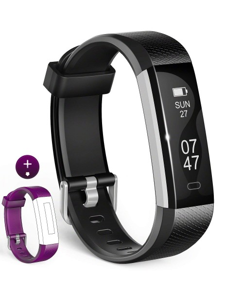 Fitness Tracker Wesoo K1 Fitness Watch  Activity Tracker Smart Band with Sleep Monitor Smart Bracelet Pedometer Wristband with Replacement Band for iOS & Android (Black+Purple Band)