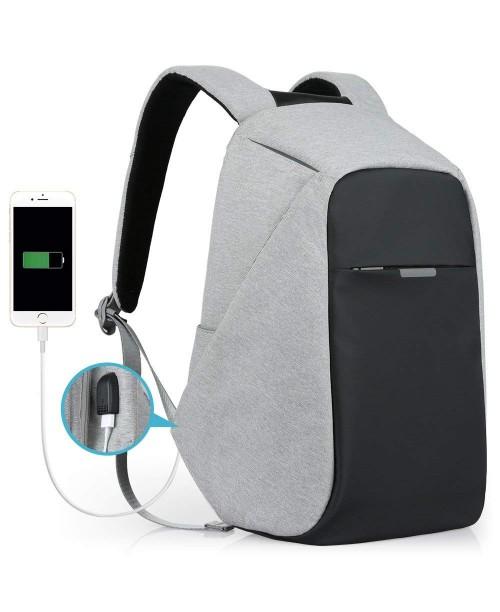 Oscaurt Anti-theft Travel Backpack Business Laptop School Book Bag with USB Charging Port Water Resistant Students Work Men & Women Daypack Grey