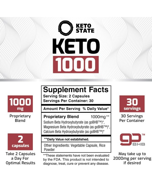 Keto Fat Burner 1000MG goBHB  Patented goBHB Beta-Hydroxybutyrate  Premium Keto Weight Loss Supplement  Formulated to Burn Fat Enter Perfect Ketosis Enhance Mental Focus & Clarity  60 VCaps