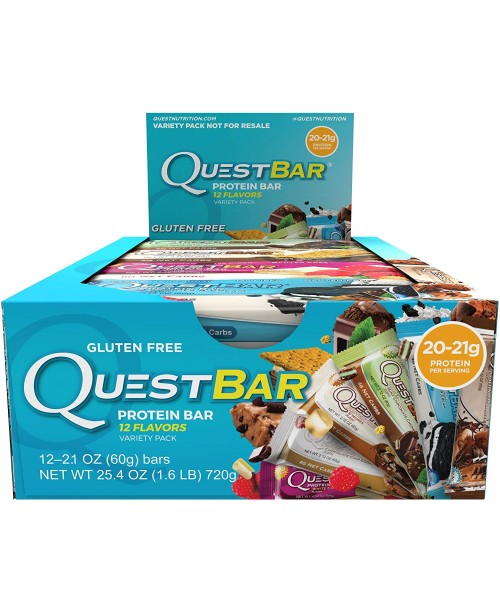 Quest Nutrition Protein Bar Best Seller Variety Pack 12 Flavors High Protein Bars Low Carb Bars Gluten Free Soy Free 21 oz Bar 12 Count Packaging May Vary