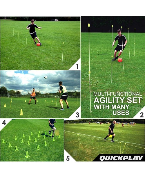 QuickPlay PRO Speed + Agility Set Multi-Sport Training Agility Poles | Cones | Speed Hurdles | Soccer Tennis | Crowd Barrier New for 2017